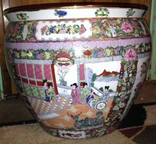 Huge Vintage Antique Chinese Rose Medallion Fishbowl Or Planter 15