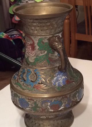 Antique Japanese Cloisonne Bronze / Brass Urn Vase Double Handle Japan photo