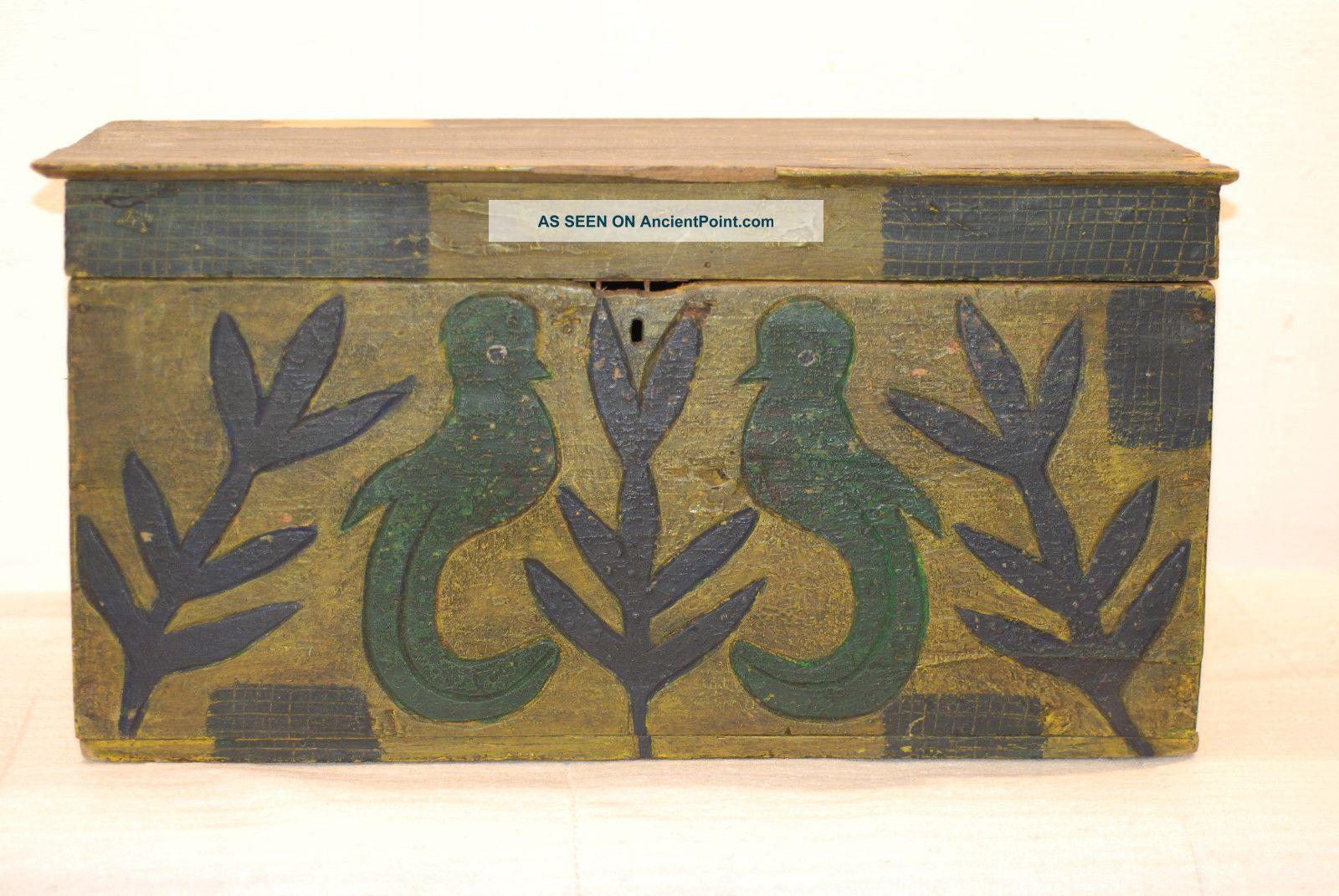 Dark Antique Guatemalan Chest= Quetzal Bird Featured 1900-1950 photo