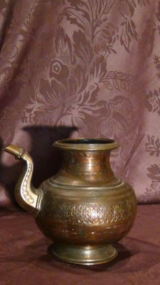 Antique 18c Islamic Copper Punjab Water Pitcher,  Jug Hand Engraved Islamic photo