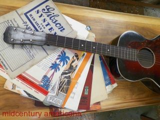 Vintage 1930 ' S Hawaiian Accoustic Guitar Flat Top Provenance Pre 1940 photo