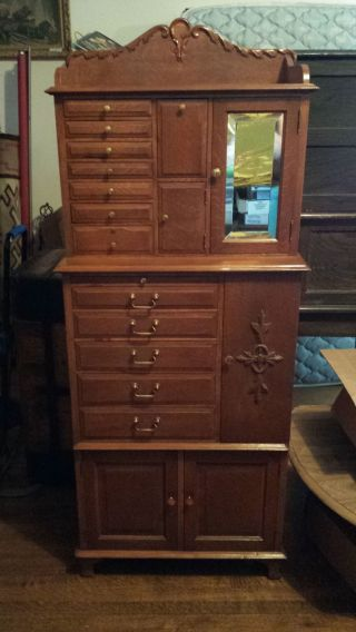 Antique Dental Cabinet,  American Cabinet Co.  Oak Dental Storage Cabinet photo