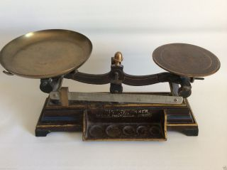 Antique Late 1800 ' S Henry Thoemner Cast Iron Brass Balance Scale 106 Photo photo