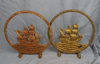 Large Cast Iron Andirons ? Rings With Ships Inside photo