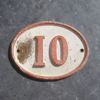 "Antique Authentic Large French House Number Plaque,  ""10"",  Cast Iron,  Oval Shape photo"