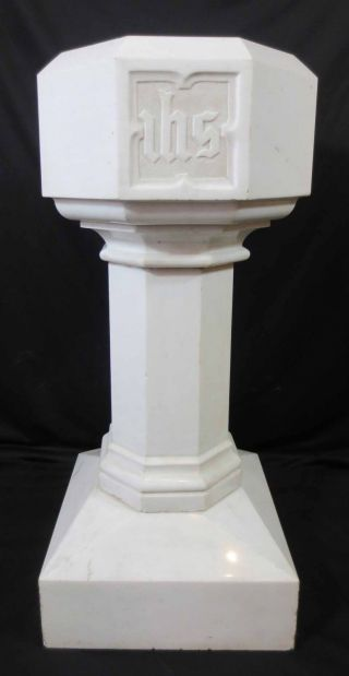 Antique Architectural Religious Gothic Italian Marble Church Holy Water Font photo