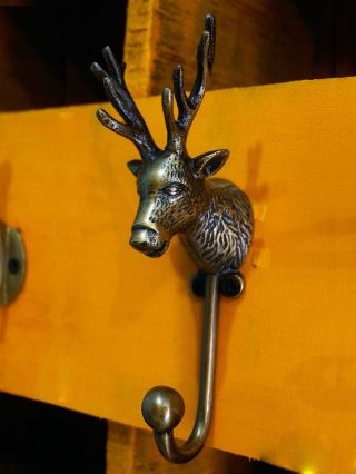 Antique Vintage Brass Deer / Elk Head Wildlife Wall Hook Coat Cloth Hat Hanger photo