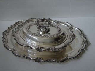 Rococo Revival Silver Plate Covered Entree & Tray By Sheffield Silver Co photo