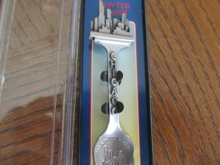Chicago Spoon - - Skyline Of City Top Of Handle And In Bowl Of Spoon - All In Pewter photo