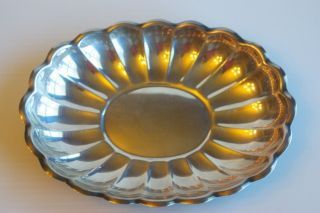 Antique Vintage Reed & Barton Scalloped Edge Pewter Tray Bowl Plate Silver photo