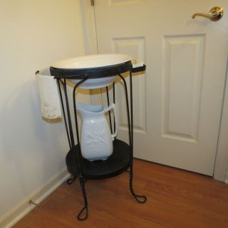 Rare Antique Wrought Iron Metal Wash Stand W/ Porcelain Bowl & Pitcher Complete photo