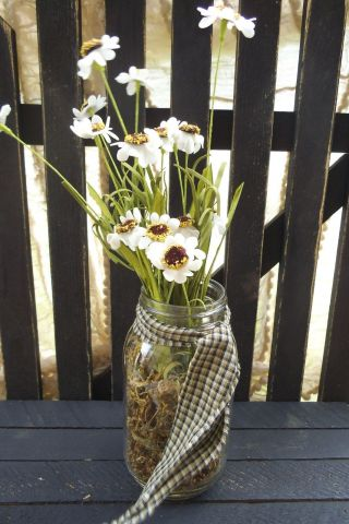 Asters Mason Jar Flower Arrangement Flowers Arrangement Rustic Primitive photo