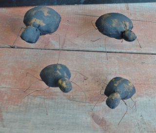 Handmade Spiders Bowl Fillers Set Of Four For Primitive Fall Halloween Decor photo