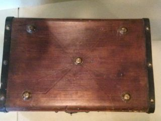 Antique Brown Childs Stagecoach Trunk photo
