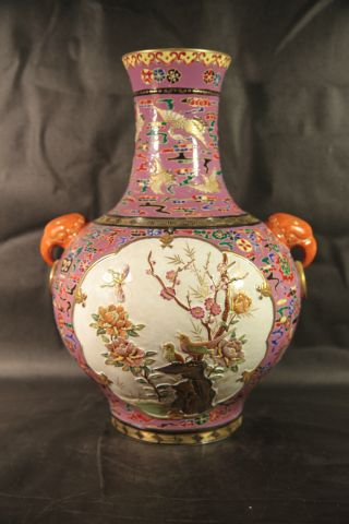An Astonishing Large Pink Chinese Famille Rose Porcelain Vase Embossed Carving photo