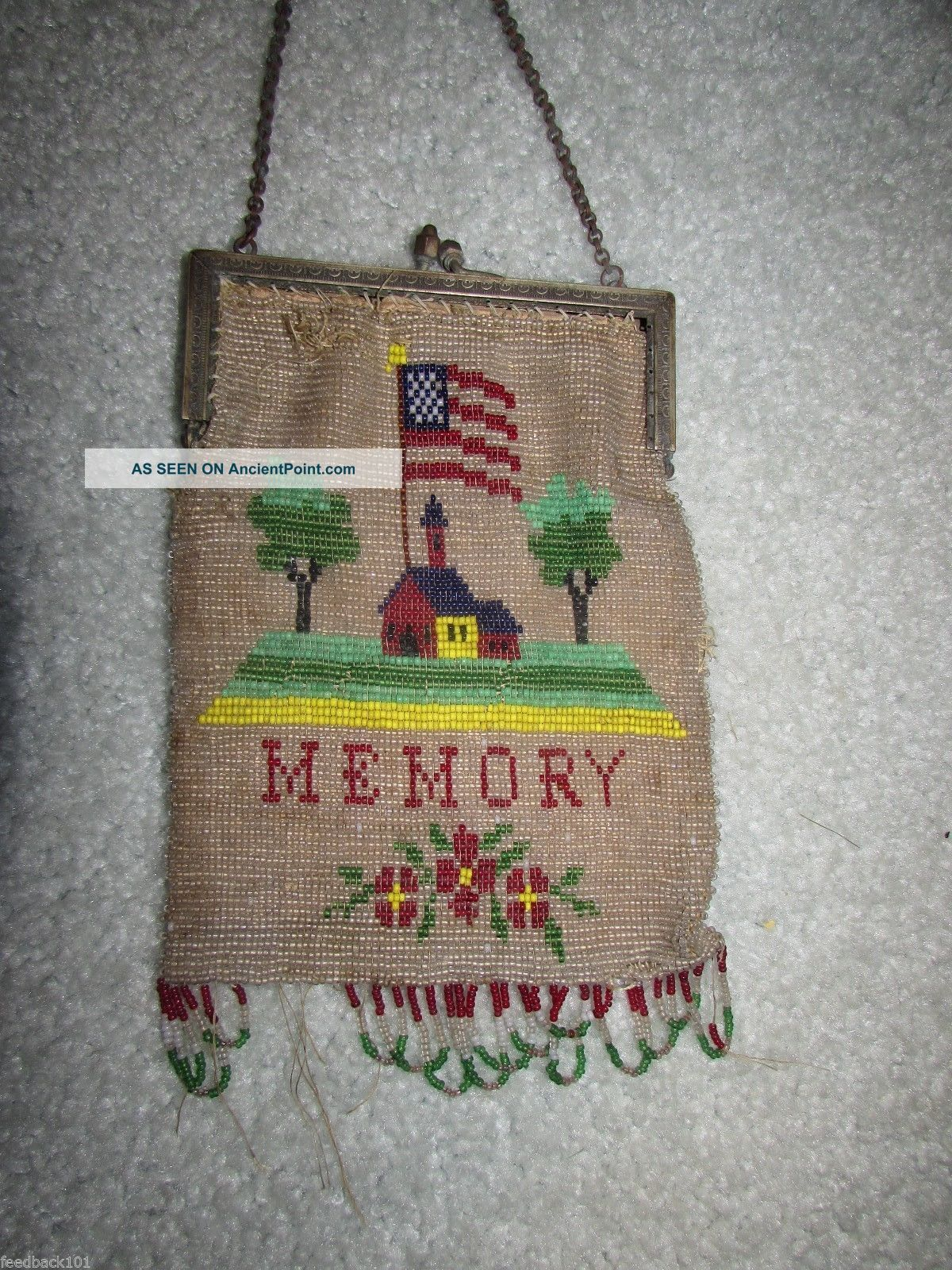 Antique Beaded Purse 18 Stars 1812 - 1816 Rare Pictorial Handbag War Time Bag Other photo