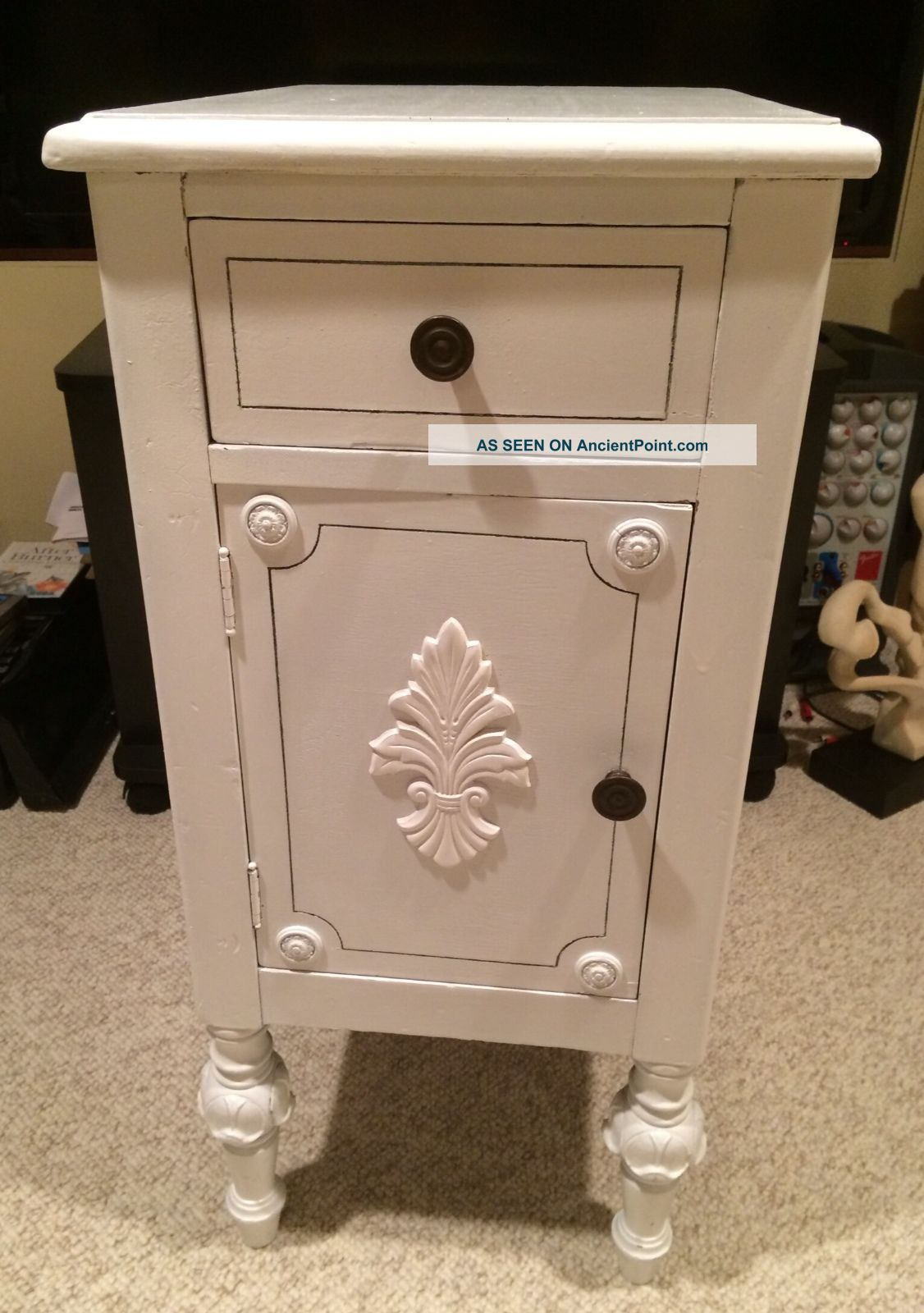 Victorian Vintage Nightstand White Chic Bedroom Side Lamp Table Shabby