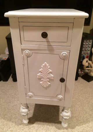 Antique Victorian Vintage Nightstand White Chic Bedroom Side Lamp Table Shabby photo