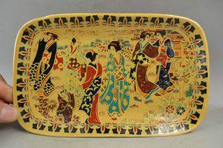 Old Handwork Porcelain Drawing Lifelike Dowager Noble Elegant Fruit Plate photo