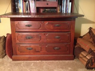 Gorgeous Antique Secretary Desk With Glass Library photo