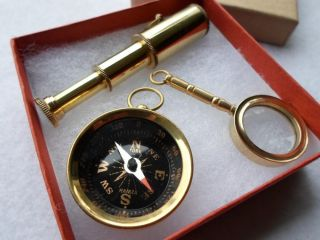 Brass Telescope,  Compass,  Magnifying Glass Gift Set W/ Box Pendant,  Keychain photo
