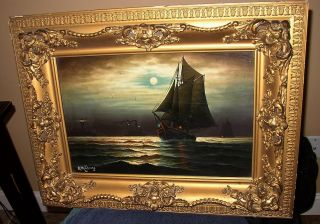 19th Century Oil On Canvas Moonlit Sail By Listed Artist Andrew Millrose photo