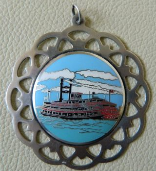Lunt Sterling Silver Medallion Merry Christmas Pendant With Enamel Work 1981 photo