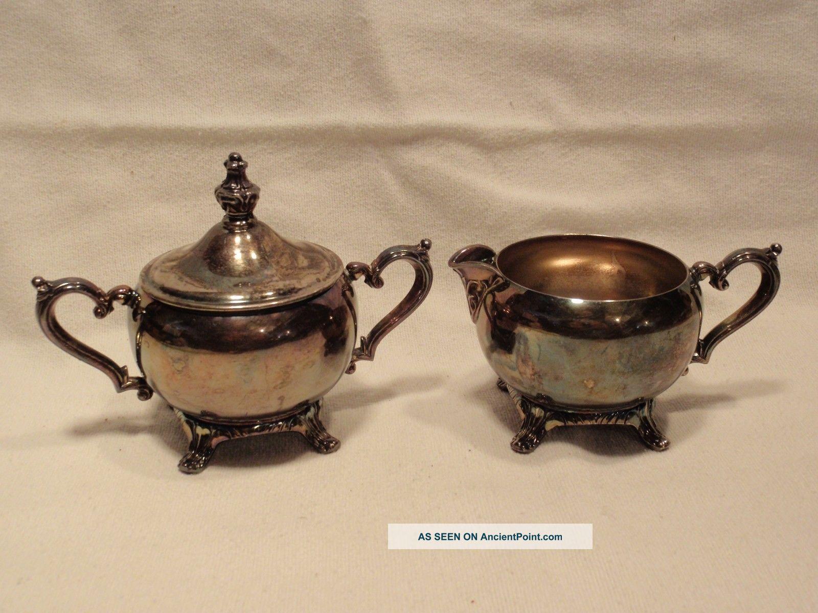 Vintage Wm Rogers Cream & Sugar Bowl Set Silver Plated. Creamers & Sugar Bowls photo