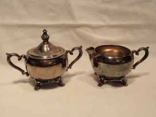 Vintage Wm Rogers Cream & Sugar Bowl Set Silver Plated. photo