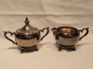 Vintage Wm Rogers Cream & Sugar Bowl Set Silver Plated. photo