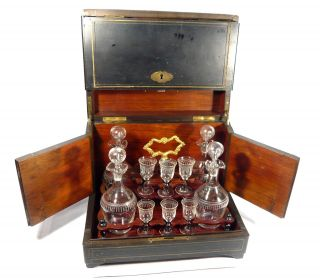Antique Victorian Liqueur Case Liquor Box Tantalus Decanter & Cordial Glasses photo