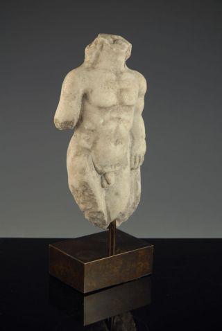 200ad Ancient Roman Marble Male Torso Figurine photo