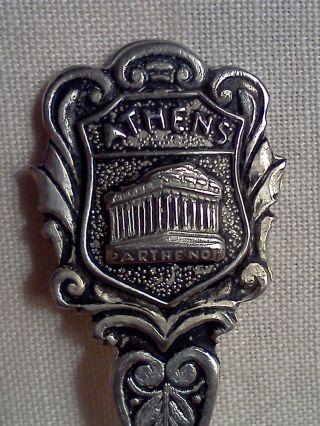 800 Sterling Silver Athens Parthenon/greece Souvenir Spoon photo