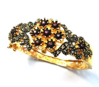 Rosecut Diamond & Natural Ruby Gold Plated Antique Look Turkish Jewelry Bracelet photo