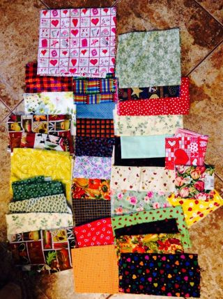Large Primitive Fabric Of Pieces/scraps (floral,  Ladybugs,  Valentines,  Etc. ) photo