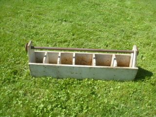 Vtg Country Wooden Carpenter Tool Box Big Garden Tote Caddy Carrier Planter 42 photo