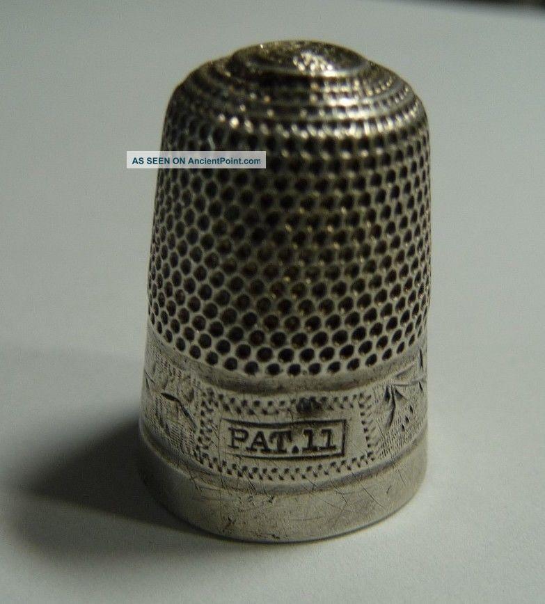 Antique English Dorcas Sterling Silver Pat.  11 Thimble Scarce Thimbles photo