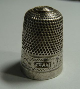 Antique English Dorcas Sterling Silver Pat.  11 Thimble Scarce photo