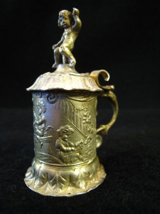 Miniature Silver Tankard With Overhanging Hinged Lid,  Cherub Finial photo