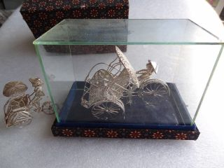 Sterling Silver Figural 925 Filigree Rickshaw Miniatures & Custom Box photo
