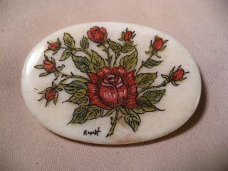Scrimshaw Bone Worry Stone - Red Roses photo
