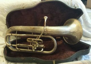 Conn Ltd.  Vintage Brass C.  G.  Conn Tuba W/original Case 272953 Elkhart Ind.  Usa photo