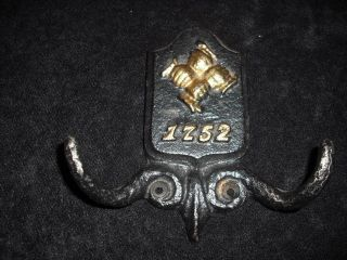 Antique Metal Coat Hook/hanger Dated 1752 photo
