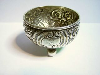 England / Birmingham 1890 - 91 Small Sterling Silver Bowl Repousse 2 - 1/4