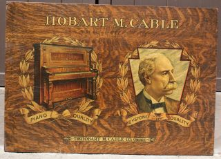 Vintage Hobart M Cable Piano Co Chicago Wooden Advertising Sign photo