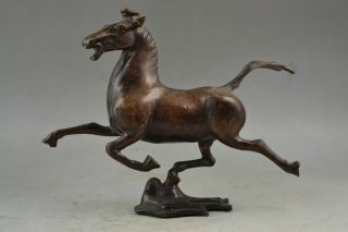 China Ancient Handmade Copper Carving Horse Riding Chebi Wonderful Rare Statue photo