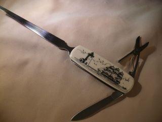 Scrimshaw Resin Letter Opener Knife Lighthouse - Side Ship photo