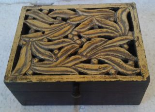 Rarest Wood Chest Box Rare Art Collectible Design Hand Carved Craft Home Decor photo