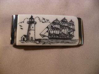 Scrimshaw Resin Money Clip Side Ship - Lighthouse photo