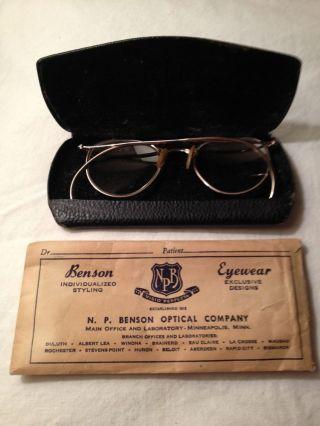 Antique 12k Gold Filled Eye Glasses Spectacles W/case/original Envelope Benson photo